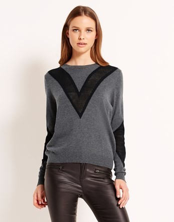 Yas Insert Long Sleeve Jumper - sleeve style: dolman/batwing; pattern: striped; style: standard; predominant colour: charcoal; secondary colour: black; occasions: casual, work, creative work; length: standard; fit: standard fit; neckline: crew; sleeve length: long sleeve; texture group: knits/crochet; pattern type: knitted - fine stitch; pattern size: standard; fibres: viscose/rayon - mix; season: a/w 2016