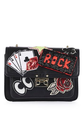 Fortune Patch Cross Body Bag - secondary colour: true red; predominant colour: black; occasions: casual, creative work; type of pattern: standard; style: shoulder; length: across body/long; size: standard; material: faux leather; embellishment: embroidered; finish: plain; pattern: patterned/print; season: a/w 2016
