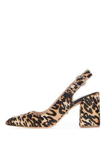 Graduate Slingback Shoes - predominant colour: camel; secondary colour: black; material: fabric; heel height: mid; heel: block; toe: pointed toe; style: slingbacks; finish: plain; pattern: animal print; occasions: creative work; trends: glossy girl; season: a/w 2016; wardrobe: highlight