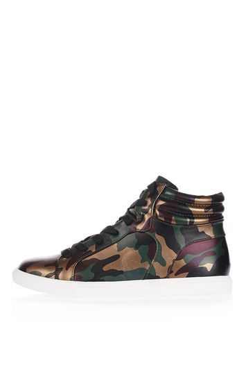 Cine Hi Top Trainer - predominant colour: dark green; secondary colour: gold; occasions: casual; material: faux leather; heel height: flat; toe: round toe; style: trainers; finish: metallic; pattern: camouflage; multicoloured: multicoloured; trends: tomboy girl; season: a/w 2016