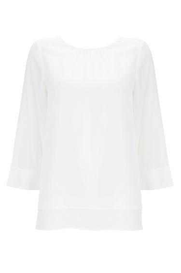 Ivory Coloured Top - neckline: round neck; pattern: plain; style: blouse; predominant colour: white; occasions: casual, creative work; length: standard; fibres: polyester/polyamide - 100%; fit: straight cut; sleeve length: 3/4 length; sleeve style: standard; texture group: crepes; bust detail: tiers/frills/bulky drapes/pleats; pattern type: fabric; pattern size: standard; season: a/w 2016