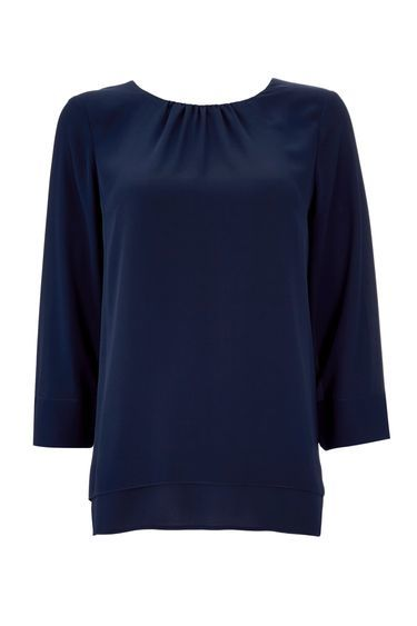 Navy Layered Top - neckline: round neck; pattern: plain; style: blouse; predominant colour: navy; occasions: casual, creative work; length: standard; fibres: polyester/polyamide - 100%; fit: straight cut; sleeve length: 3/4 length; sleeve style: standard; texture group: crepes; bust detail: bulky details at bust; pattern type: fabric; pattern size: standard; season: a/w 2016; wardrobe: highlight