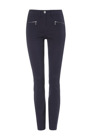 Grey Zip Pocket Trouser - length: standard; pattern: plain; waist: high rise; predominant colour: navy; occasions: casual, evening, creative work; fibres: cotton - stretch; texture group: cotton feel fabrics; fit: skinny/tight leg; pattern type: fabric; style: standard; wardrobe: basic; season: a/w 2016