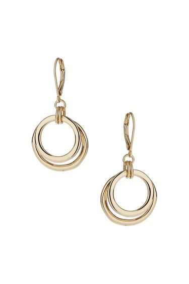 Metal Ring Drop Earrings - predominant colour: gold; occasions: evening, occasion; style: drop; length: mid; size: standard; material: chain/metal; fastening: pierced; finish: plain; season: a/w 2013; wardrobe: event