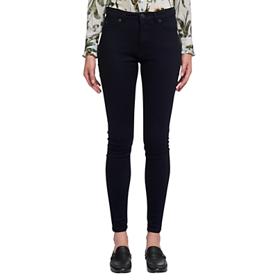 Skinny Jeans - style: skinny leg; length: standard; pattern: plain; waist: high rise; pocket detail: traditional 5 pocket; predominant colour: black; occasions: casual, creative work; fibres: cotton - stretch; jeans detail: whiskering; texture group: denim; pattern type: fabric; pattern size: standard (bottom); season: a/w 2015; wardrobe: basic