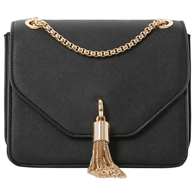 Elina Clutch Bag - secondary colour: gold; predominant colour: black; occasions: evening, occasion; type of pattern: standard; style: clutch; length: hand carry; size: small; material: fur; embellishment: tassels; pattern: plain; finish: plain; season: s/s 2016; wardrobe: event