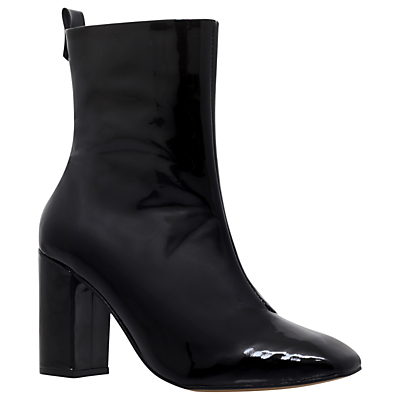 Strut Block Heeled Ankle Boots - predominant colour: black; occasions: casual, work, creative work; material: leather; heel height: high; heel: block; toe: pointed toe; boot length: ankle boot; style: standard; finish: plain; pattern: plain; season: s/s 2016; wardrobe: highlight