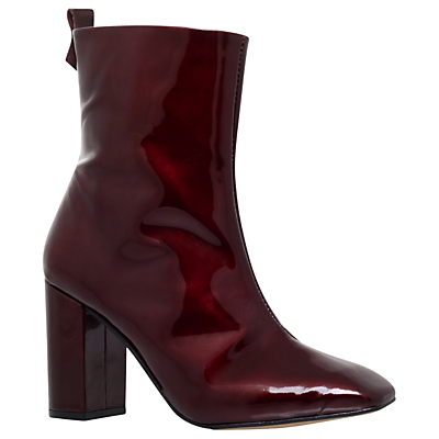 Strut Block Heeled Ankle Boots - predominant colour: burgundy; occasions: casual, creative work; material: leather; heel height: high; heel: block; toe: pointed toe; boot length: ankle boot; style: standard; finish: plain; pattern: plain; season: s/s 2016; wardrobe: highlight