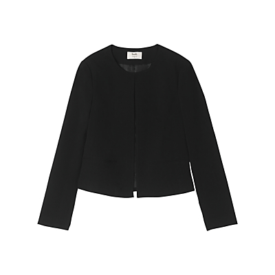 Edie Jacket, Black - pattern: plain; collar: round collar/collarless; style: boxy; predominant colour: black; occasions: work; length: standard; fit: straight cut (boxy); fibres: polyester/polyamide - stretch; sleeve length: long sleeve; sleeve style: standard; collar break: high; pattern type: fabric; texture group: woven light midweight; wardrobe: investment; season: a/w 2016
