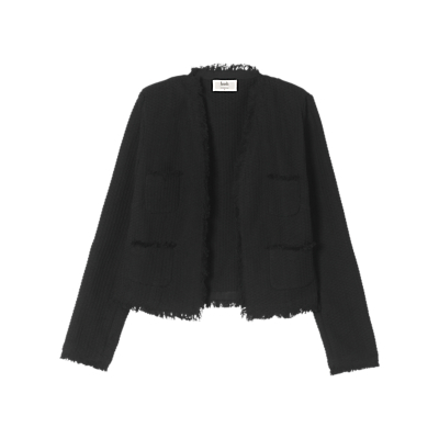Frayed Crop Jacket, Black - pattern: plain; collar: round collar/collarless; style: boxy; predominant colour: black; occasions: work; fit: straight cut (boxy); fibres: cotton - 100%; sleeve length: long sleeve; sleeve style: standard; collar break: low/open; pattern type: fabric; texture group: woven light midweight; length: cropped; wardrobe: investment; season: a/w 2016