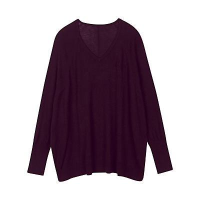 Adele Jumper - neckline: low v-neck; pattern: plain; length: below the bottom; style: standard; predominant colour: aubergine; occasions: casual, creative work; fibres: cotton - mix; fit: loose; sleeve length: long sleeve; sleeve style: standard; texture group: knits/crochet; pattern type: knitted - fine stitch; season: a/w 2016; wardrobe: highlight; trends: chunky knits