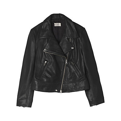 Onyx Leather Jacket, Black - pattern: plain; style: biker; collar: asymmetric biker; fit: slim fit; predominant colour: black; occasions: casual, creative work; length: standard; fibres: polyester/polyamide - 100%; sleeve length: long sleeve; sleeve style: standard; texture group: leather; collar break: medium; pattern type: fabric; season: a/w 2016