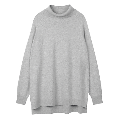 Roll Neck Jumper - pattern: plain; length: below the bottom; neckline: roll neck; style: standard; predominant colour: mid grey; occasions: casual, creative work; fit: loose; back detail: longer hem at back than at front; fibres: cashmere - 100%; sleeve length: long sleeve; sleeve style: standard; texture group: knits/crochet; pattern type: knitted - fine stitch; wardrobe: investment; season: a/w 2016; trends: chunky knits