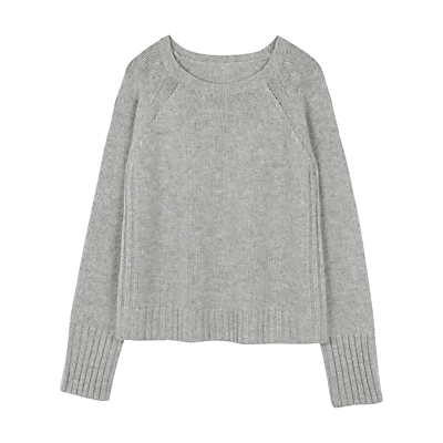 Crew Neck Jumper, Grey Marl - neckline: round neck; pattern: plain; style: standard; predominant colour: light grey; occasions: casual, work, creative work; length: standard; fit: loose; sleeve length: long sleeve; sleeve style: standard; texture group: knits/crochet; pattern type: knitted - fine stitch; fibres: cashmere - mix; wardrobe: investment; season: a/w 2016; trends: chunky knits