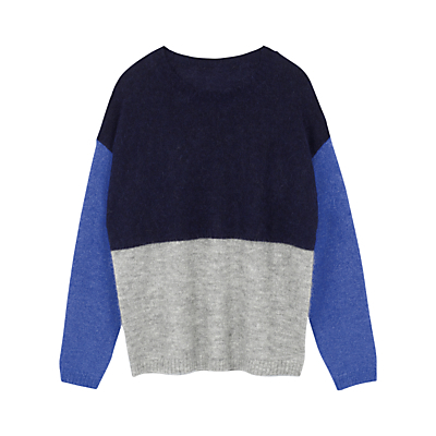 Colourblock Jumper - neckline: round neck; length: below the bottom; style: standard; secondary colour: diva blue; predominant colour: navy; occasions: casual, creative work; fibres: nylon - mix; fit: loose; sleeve length: long sleeve; sleeve style: standard; texture group: knits/crochet; pattern type: knitted - fine stitch; pattern size: standard; pattern: colourblock; season: a/w 2016; wardrobe: highlight; trends: chunky knits