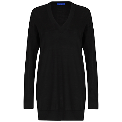 Boyfriend Jumper - neckline: v-neck; pattern: plain; style: standard; predominant colour: black; occasions: casual, creative work; fibres: wool - 100%; fit: loose; length: mid thigh; sleeve length: long sleeve; sleeve style: standard; texture group: knits/crochet; pattern type: knitted - fine stitch; pattern size: standard; wardrobe: basic; season: a/w 2016