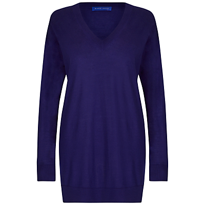 Boyfriend Jumper - neckline: v-neck; pattern: plain; style: standard; predominant colour: navy; occasions: casual, creative work; fibres: wool - 100%; fit: loose; length: mid thigh; sleeve length: long sleeve; sleeve style: standard; texture group: knits/crochet; pattern type: knitted - fine stitch; season: a/w 2016