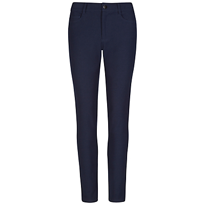 Jeans - style: skinny leg; length: standard; pattern: plain; waist: low rise; pocket detail: traditional 5 pocket; predominant colour: navy; occasions: casual, evening, creative work; fibres: viscose/rayon - stretch; jeans detail: dark wash; texture group: denim; pattern type: fabric; wardrobe: basic; season: a/w 2016