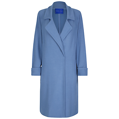 Jersey A Line Coat, Blue Slate - pattern: plain; style: single breasted; fit: slim fit; collar: standard lapel/rever collar; length: calf length; predominant colour: diva blue; occasions: casual; fibres: viscose/rayon - stretch; sleeve length: long sleeve; sleeve style: standard; collar break: medium; pattern type: fabric; texture group: jersey - stretchy/drapey; season: a/w 2016; wardrobe: highlight