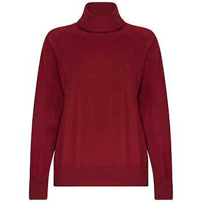 Merino Wool Roll Neck, Rich Burgundy - pattern: plain; neckline: roll neck; style: standard; predominant colour: burgundy; occasions: casual, work, creative work; length: standard; fibres: wool - 100%; fit: loose; sleeve length: long sleeve; sleeve style: standard; texture group: knits/crochet; pattern type: knitted - fine stitch; season: a/w 2016; wardrobe: highlight