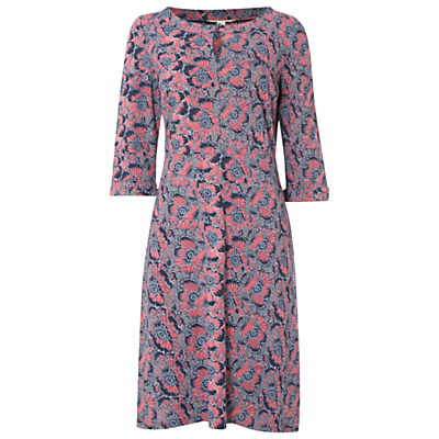 Queens Road Dress - style: shift; neckline: round neck; predominant colour: pink; secondary colour: mid grey; occasions: casual, creative work; length: just above the knee; fit: body skimming; fibres: cotton - 100%; sleeve length: 3/4 length; sleeve style: standard; pattern type: fabric; pattern size: standard; pattern: patterned/print; texture group: jersey - stretchy/drapey; multicoloured: multicoloured; season: a/w 2016; wardrobe: highlight