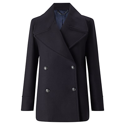 Giant Rever Classic Peacoat - pattern: plain; length: standard; collar: wide lapels; style: pea coat; predominant colour: navy; occasions: casual, creative work; fit: straight cut (boxy); fibres: wool - mix; sleeve length: long sleeve; sleeve style: standard; collar break: medium; pattern type: fabric; texture group: woven bulky/heavy; season: a/w 2016