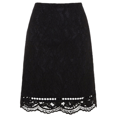 Bonded Lace Pelmet Skirt - style: pencil; fit: body skimming; waist: high rise; predominant colour: black; occasions: evening, occasion; length: just above the knee; fibres: polyester/polyamide - 100%; texture group: lace; pattern type: fabric; pattern: patterned/print; embellishment: lace; pattern size: standard (bottom); season: a/w 2016; wardrobe: event; embellishment location: hem