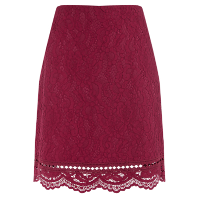 Bonded Lace Pelmet Skirt - style: pencil; fit: body skimming; waist: high rise; occasions: evening, creative work; length: just above the knee; fibres: polyester/polyamide - 100%; texture group: lace; pattern type: fabric; pattern: patterned/print; embellishment: lace; predominant colour: raspberry; pattern size: standard (bottom); season: a/w 2016; wardrobe: highlight; embellishment location: all over
