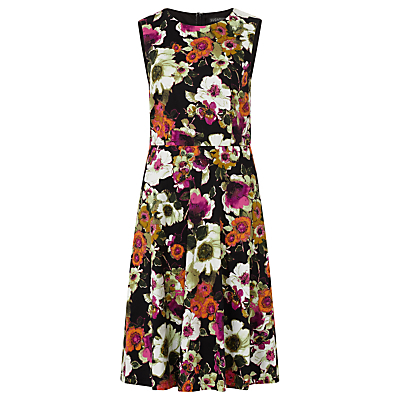 Anna Floral Print Dress, Black/Multi - neckline: round neck; sleeve style: sleeveless; secondary colour: magenta; predominant colour: black; length: just above the knee; fit: fitted at waist & bust; style: fit & flare; fibres: cotton - stretch; occasions: occasion, creative work; hip detail: subtle/flattering hip detail; sleeve length: sleeveless; texture group: cotton feel fabrics; pattern type: fabric; pattern size: big & busy; pattern: florals; multicoloured: multicoloured; season: a/w 2016; wardrobe: highlight