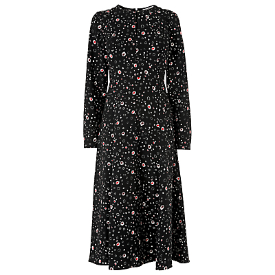 Freya Twilight Flower Dress, Multi - style: tea dress; length: below the knee; neckline: round neck; secondary colour: ivory/cream; predominant colour: black; fit: body skimming; fibres: polyester/polyamide - 100%; hip detail: subtle/flattering hip detail; sleeve length: long sleeve; sleeve style: standard; pattern type: fabric; pattern size: big & busy; pattern: florals; texture group: other - light to midweight; occasions: creative work; multicoloured: multicoloured; season: a/w 2016; wardrobe: highlight