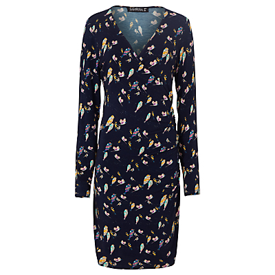 Callie Bright Birdie Dress, Navy - style: faux wrap/wrap; neckline: v-neck; predominant colour: navy; secondary colour: yellow; length: just above the knee; fit: body skimming; fibres: viscose/rayon - stretch; sleeve length: long sleeve; sleeve style: standard; pattern type: fabric; pattern: patterned/print; texture group: jersey - stretchy/drapey; occasions: creative work; multicoloured: multicoloured; season: a/w 2016; wardrobe: highlight