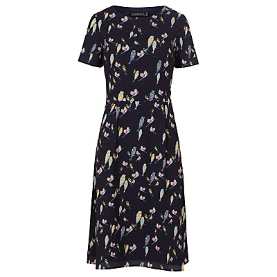 Maya Bright Birdie Dress, Navy - secondary colour: pale blue; predominant colour: navy; occasions: casual, creative work; length: just above the knee; fit: fitted at waist & bust; style: fit & flare; fibres: polyester/polyamide - 100%; neckline: crew; sleeve length: short sleeve; sleeve style: standard; pattern type: fabric; pattern: patterned/print; texture group: jersey - stretchy/drapey; multicoloured: multicoloured; season: a/w 2016; wardrobe: highlight