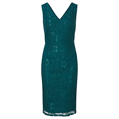 Rimona Sleeveless Lace Dress, Dark Teal - style: shift; neckline: v-neck; fit: tailored/fitted; sleeve style: sleeveless; predominant colour: teal; occasions: evening, occasion; length: on the knee; fibres: polyester/polyamide - mix; sleeve length: sleeveless; texture group: lace; pattern type: fabric; pattern size: standard; pattern: patterned/print; season: a/w 2016; wardrobe: event