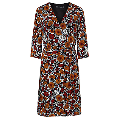 Iliana Floral Wrap Dress, Rust - style: faux wrap/wrap; neckline: v-neck; predominant colour: burgundy; secondary colour: terracotta; length: just above the knee; fit: body skimming; fibres: polyester/polyamide - 100%; sleeve length: half sleeve; sleeve style: standard; pattern type: fabric; pattern size: big & busy; pattern: florals; texture group: jersey - stretchy/drapey; occasions: creative work; multicoloured: multicoloured; season: a/w 2016; wardrobe: highlight