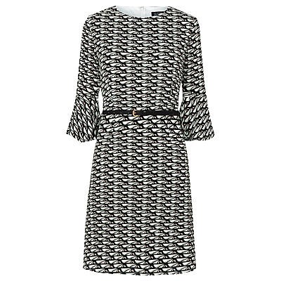 Leila Geometric Heart Print Dress, Multi - style: shift; sleeve style: trumpet; waist detail: belted waist/tie at waist/drawstring; secondary colour: white; predominant colour: black; occasions: evening, creative work; length: just above the knee; fit: body skimming; fibres: polyester/polyamide - 100%; neckline: crew; sleeve length: 3/4 length; pattern type: fabric; pattern: patterned/print; texture group: jersey - stretchy/drapey; multicoloured: multicoloured; season: a/w 2016; wardrobe: highlight