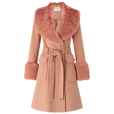 Faux Fur Cuff Coat, Rose Pink - pattern: plain; length: on the knee; style: wrap around; predominant colour: blush; occasions: casual; fit: tailored/fitted; fibres: polyester/polyamide - stretch; waist detail: belted waist/tie at waist/drawstring; sleeve length: long sleeve; sleeve style: standard; collar: fur; collar break: medium; pattern type: fabric; texture group: woven bulky/heavy; embellishment: fur; season: a/w 2016; wardrobe: highlight; embellishment location: neck, sleeve/cuff