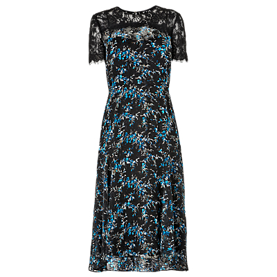 Elwin Devore Lace Dress, Multi - style: shift; length: calf length; secondary colour: diva blue; predominant colour: black; occasions: evening, occasion; fit: body skimming; fibres: silk - mix; neckline: crew; sleeve length: short sleeve; sleeve style: standard; texture group: lace; pattern type: fabric; pattern: patterned/print; multicoloured: multicoloured; season: a/w 2016; wardrobe: event