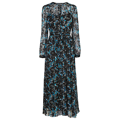 Cersei Dress, Multi - neckline: round neck; fit: fitted at waist; style: maxi dress; length: ankle length; secondary colour: diva blue; predominant colour: black; occasions: evening; fibres: polyester/polyamide - 100%; sleeve length: long sleeve; sleeve style: standard; texture group: sheer fabrics/chiffon/organza etc.; pattern type: fabric; pattern size: big & busy; pattern: florals; multicoloured: multicoloured; season: a/w 2016; wardrobe: event