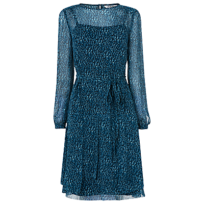 Bryony Ribbon Print Dress - style: tea dress; neckline: round neck; fit: fitted at waist; sleeve style: balloon; secondary colour: pale blue; predominant colour: teal; length: just above the knee; fibres: polyester/polyamide - 100%; hip detail: subtle/flattering hip detail; sleeve length: long sleeve; texture group: sheer fabrics/chiffon/organza etc.; pattern type: fabric; pattern size: big & busy; pattern: patterned/print; occasions: creative work; season: a/w 2016; wardrobe: highlight