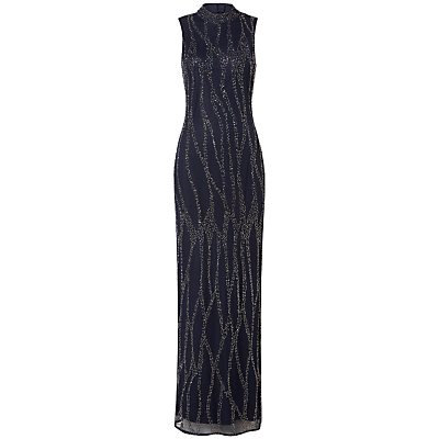 High Collar Slim Embroidered Maxi Dress, Navy - fit: tailored/fitted; pattern: plain; sleeve style: sleeveless; style: maxi dress; neckline: high neck; predominant colour: navy; secondary colour: silver; occasions: evening; length: floor length; fibres: polyester/polyamide - 100%; sleeve length: sleeveless; texture group: sheer fabrics/chiffon/organza etc.; pattern type: fabric; embellishment: beading; season: a/w 2016; wardrobe: event