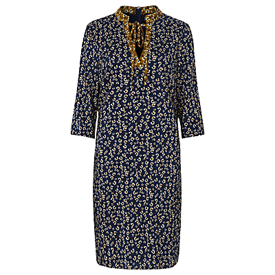 Ditsy Tunic Dress, Blue/Mustard - style: shift; neckline: v-neck; secondary colour: ivory/cream; predominant colour: navy; occasions: casual, creative work; length: just above the knee; fit: body skimming; fibres: polyester/polyamide - 100%; sleeve length: 3/4 length; sleeve style: standard; pattern type: fabric; pattern size: big & busy; pattern: florals; texture group: other - light to midweight; multicoloured: multicoloured; season: a/w 2016; wardrobe: highlight