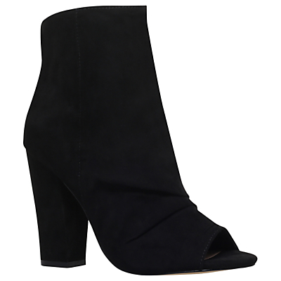 Sybil Occasion Peep Toe Ankle Boots - predominant colour: black; occasions: evening; material: suede; heel height: high; heel: block; toe: open toe/peeptoe; boot length: ankle boot; style: standard; finish: plain; pattern: plain; season: a/w 2016; wardrobe: event