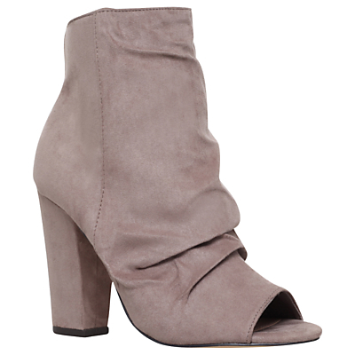 Sybil Occasion Peep Toe Ankle Boots - predominant colour: light grey; occasions: casual, creative work; material: suede; heel height: high; heel: block; toe: open toe/peeptoe; boot length: ankle boot; style: standard; finish: plain; pattern: plain; season: a/w 2016; wardrobe: highlight