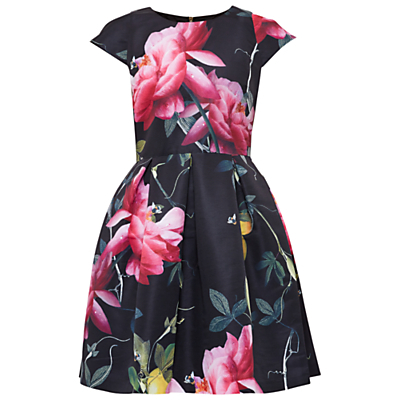 Tillea Citrus Bloom Dress - sleeve style: capped; secondary colour: hot pink; predominant colour: black; occasions: evening, occasion; length: just above the knee; fit: fitted at waist & bust; style: fit & flare; fibres: polyester/polyamide - 100%; neckline: crew; sleeve length: short sleeve; pattern type: fabric; pattern size: big & busy; pattern: florals; texture group: woven light midweight; multicoloured: multicoloured; season: a/w 2016; wardrobe: event