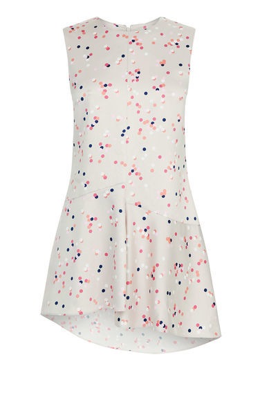 Confetti Spot Sleeveless Top - sleeve style: sleeveless; length: below the bottom; secondary colour: pink; predominant colour: light grey; occasions: casual; style: top; fibres: polyester/polyamide - 100%; fit: body skimming; neckline: crew; sleeve length: sleeveless; pattern type: fabric; pattern: patterned/print; texture group: jersey - stretchy/drapey; multicoloured: multicoloured; season: a/w 2016; wardrobe: highlight