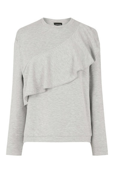 Ruffle Sweat - pattern: plain; style: sweat top; predominant colour: light grey; occasions: casual; length: standard; fibres: polyester/polyamide - stretch; fit: body skimming; neckline: crew; sleeve length: long sleeve; sleeve style: standard; bust detail: tiers/frills/bulky drapes/pleats; pattern type: fabric; texture group: jersey - stretchy/drapey; season: a/w 2016