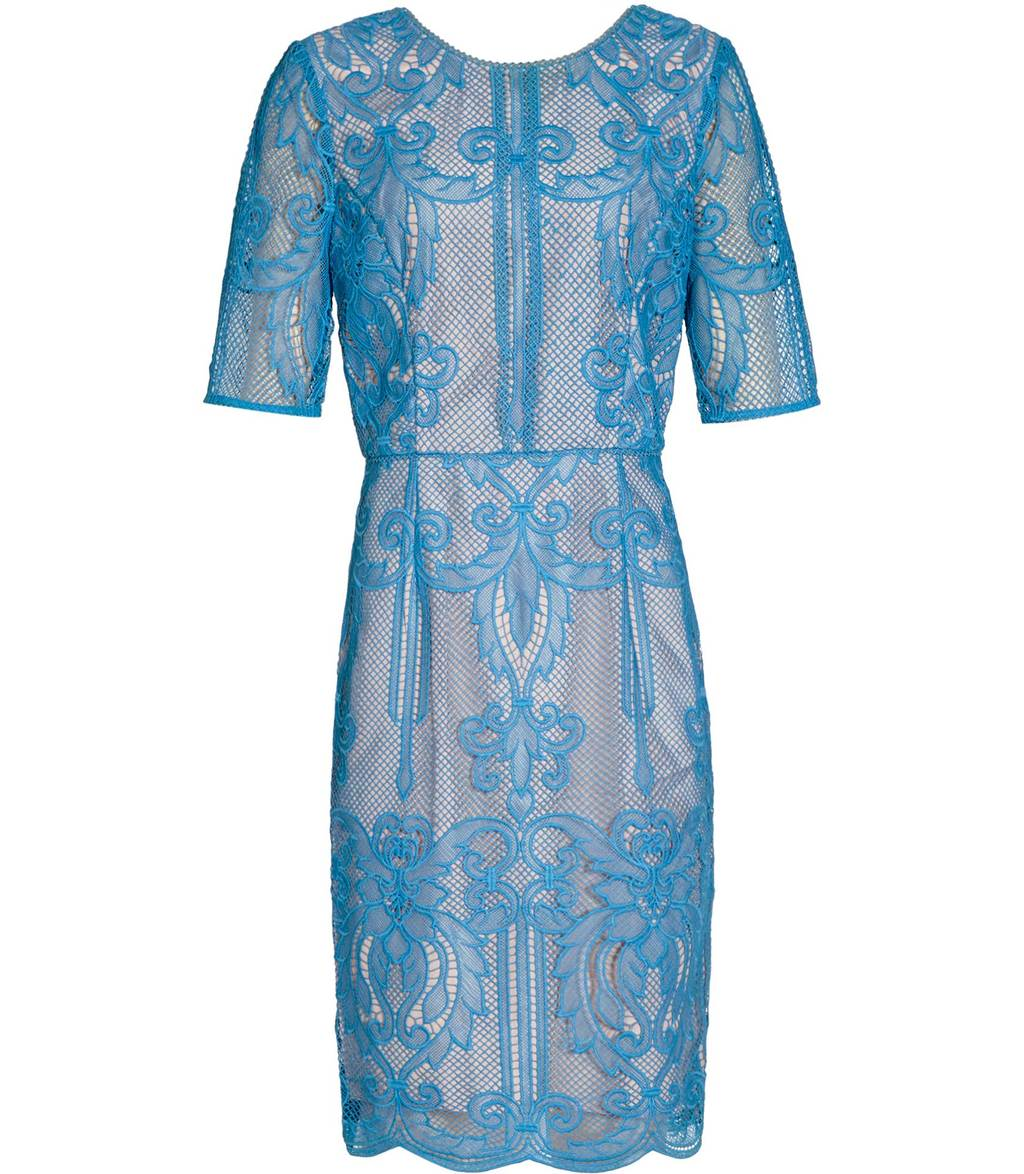 Zola Womens Lace Dress In Blue - style: shift; fit: tailored/fitted; predominant colour: diva blue; occasions: evening; length: just above the knee; fibres: polyester/polyamide - 100%; neckline: crew; sleeve length: short sleeve; sleeve style: standard; texture group: lace; pattern type: fabric; pattern: patterned/print; season: a/w 2016; wardrobe: event