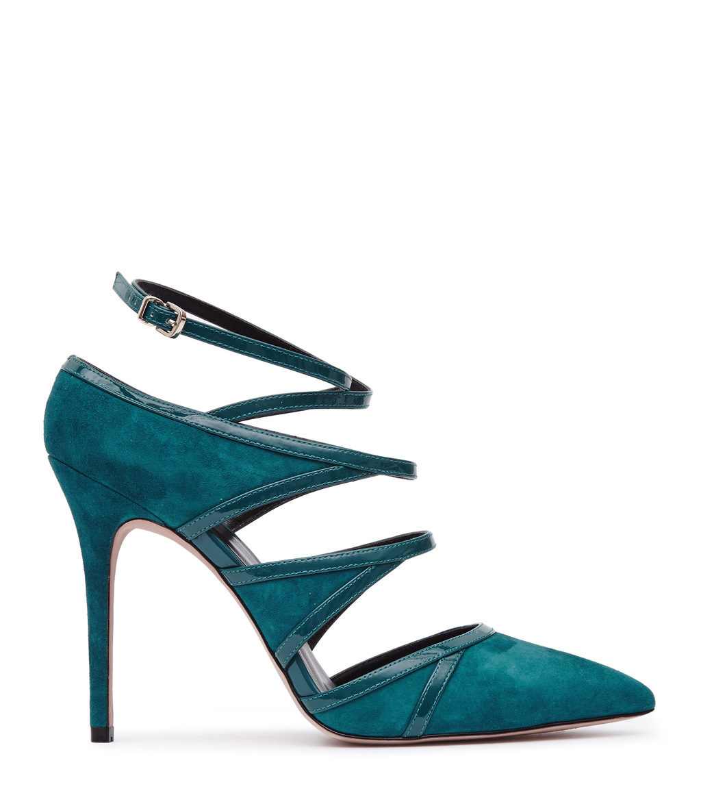 Odin Womens Multi Strap Shoes In Blue - predominant colour: teal; occasions: evening, occasion; material: suede; ankle detail: ankle strap; heel: stiletto; toe: pointed toe; style: courts; finish: plain; pattern: plain; heel height: very high; season: a/w 2016; wardrobe: event