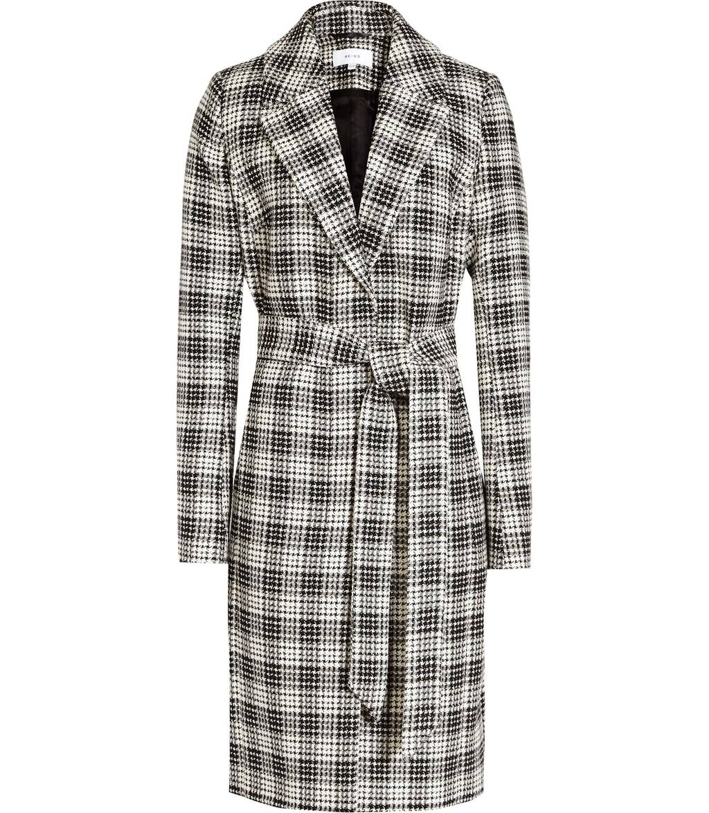 Rowan Womens Textured Checked Coat In Black - pattern: checked/gingham; style: single breasted; collar: standard lapel/rever collar; secondary colour: white; predominant colour: black; occasions: casual, work, creative work; fit: tailored/fitted; fibres: cotton - 100%; length: below the knee; waist detail: belted waist/tie at waist/drawstring; sleeve length: long sleeve; sleeve style: standard; collar break: medium; pattern type: fabric; texture group: woven bulky/heavy; pattern size: big & busy (top); season: a/w 2016; wardrobe: highlight
