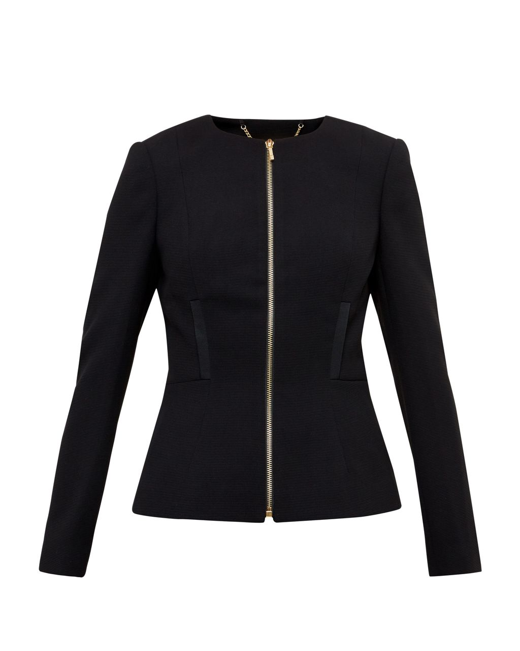 Taalii Textured Fitted Jacket, Black - pattern: plain; style: single breasted blazer; collar: round collar/collarless; predominant colour: black; occasions: work; length: standard; fit: tailored/fitted; fibres: polyester/polyamide - 100%; sleeve length: long sleeve; sleeve style: standard; texture group: crepes; collar break: high; pattern type: fabric; wardrobe: investment; season: a/w 2016